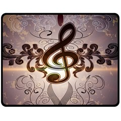 Music, Wonderful Clef With Floral Elements Double Sided Fleece Blanket (Medium)  by FantasyWorld7