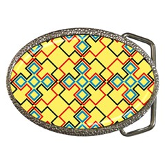 Shapes On A Yellow Background Belt Buckle by LalyLauraFLM