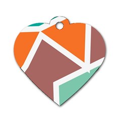 Misc Shapes In Retro Colors Dog Tag Heart (one Side) by LalyLauraFLM
