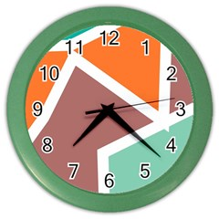 Misc Shapes In Retro Colors Color Wall Clock by LalyLauraFLM