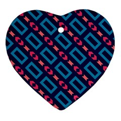 Rectangles And Other Shapes Pattern Heart Ornament (two Sides) by LalyLauraFLM