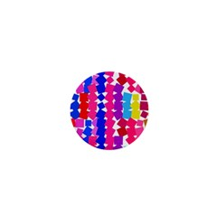 Colorful Squares 1  Mini Button by LalyLauraFLM
