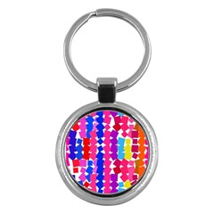 Colorful squares Key Chain (Round) by LalyLauraFLM