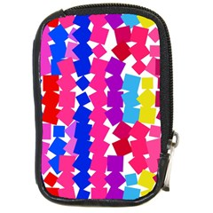Colorful Squares Compact Camera Leather Case by LalyLauraFLM