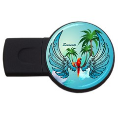Summer Design With Cute Parrot And Palms Usb Flash Drive Round (4 Gb)  by FantasyWorld7