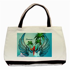 Summer Design With Cute Parrot And Palms Basic Tote Bag  by FantasyWorld7