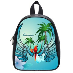 Summer Design With Cute Parrot And Palms School Bags (small)  by FantasyWorld7
