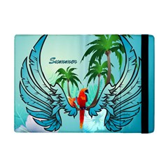 Summer Design With Cute Parrot And Palms iPad Mini 2 Flip Cases by FantasyWorld7