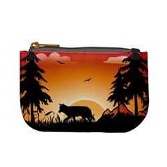 The Lonely Wolf In The Sunset Mini Coin Purses by FantasyWorld7