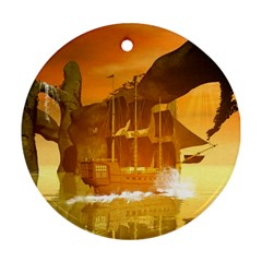 Awesome Sunset Over The Ocean With Ship Ornament (Round)  by FantasyWorld7