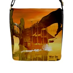 Awesome Sunset Over The Ocean With Ship Flap Messenger Bag (l)  by FantasyWorld7