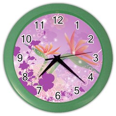 Wonderful Flowers On Soft Purple Background Color Wall Clocks by FantasyWorld7