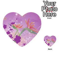 Wonderful Flowers On Soft Purple Background Multi Purpose Cards (heart)  by FantasyWorld7