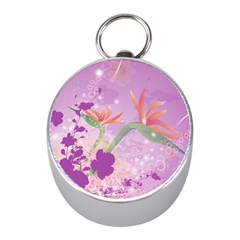 Wonderful Flowers On Soft Purple Background Mini Silver Compasses by FantasyWorld7