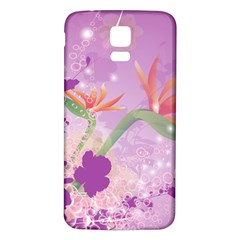 Wonderful Flowers On Soft Purple Background Samsung Galaxy S5 Back Case (white) by FantasyWorld7