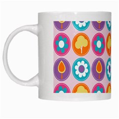 Chic Floral Pattern White Mugs by creativemom