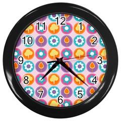 Chic Floral Pattern Wall Clocks (black) by creativemom