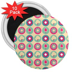 Chic Floral Pattern 3  Magnets (10 Pack)  by creativemom