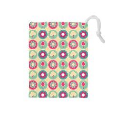 Chic Floral Pattern Drawstring Pouches (medium)  by creativemom