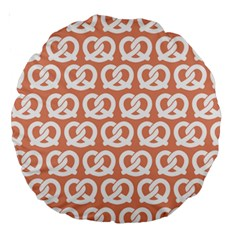 Salmon Pretzel Illustrations Pattern Large 18  Premium Round Cushions by creativemom