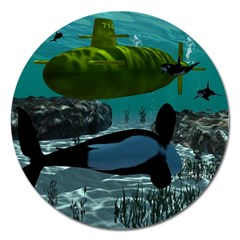 Submarine With Orca Magnet 5  (round) by FantasyWorld7