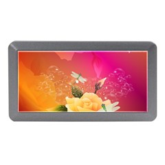 Beautiful Roses With Dragonflies Memory Card Reader (mini)