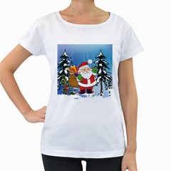 Funny Santa Claus In The Forrest Women s Loose-Fit T-Shirt (White) by FantasyWorld7