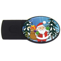 Funny Santa Claus In The Forrest Usb Flash Drive Oval (4 Gb)  by FantasyWorld7