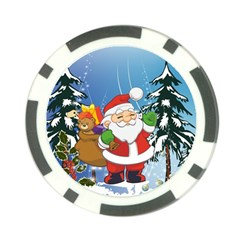 Funny Santa Claus In The Forrest Poker Chip Card Guards (10 pack)  by FantasyWorld7