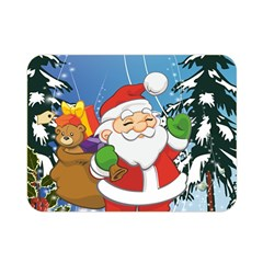 Funny Santa Claus In The Forrest Double Sided Flano Blanket (mini)  by FantasyWorld7