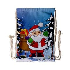 Funny Santa Claus In The Forrest Drawstring Bag (small) by FantasyWorld7
