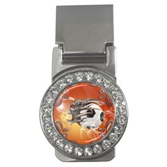 Soccer With Skull And Fire And Water Splash Money Clips (cz)  by FantasyWorld7