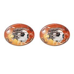 Soccer With Skull And Fire And Water Splash Cufflinks (oval) by FantasyWorld7