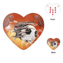 Soccer With Skull And Fire And Water Splash Playing Cards (heart)  by FantasyWorld7