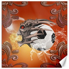 Soccer With Skull And Fire And Water Splash Canvas 20  X 20   by FantasyWorld7