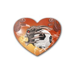 Soccer With Skull And Fire And Water Splash Heart Coaster (4 Pack)  by FantasyWorld7