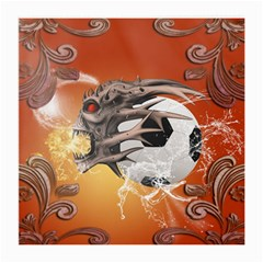 Soccer With Skull And Fire And Water Splash Medium Glasses Cloth (2 Side) by FantasyWorld7