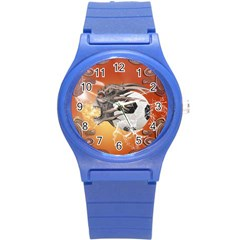 Soccer With Skull And Fire And Water Splash Round Plastic Sport Watch (s) by FantasyWorld7