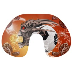 Soccer With Skull And Fire And Water Splash Travel Neck Pillows by FantasyWorld7