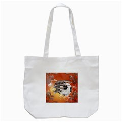 Soccer With Skull And Fire And Water Splash Tote Bag (white)  by FantasyWorld7