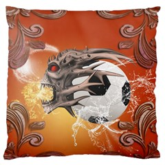 Soccer With Skull And Fire And Water Splash Large Flano Cushion Cases (two Sides)  by FantasyWorld7