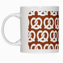 Brown Pretzel Illustrations Pattern White Mugs by creativemom