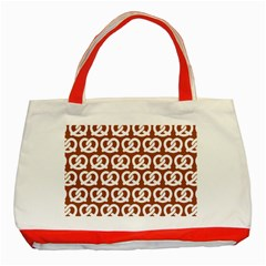 Brown Pretzel Illustrations Pattern Classic Tote Bag (red)  by creativemom