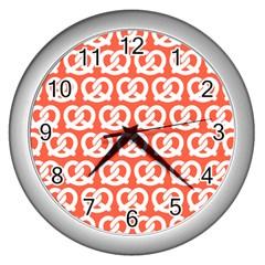 Coral Pretzel Illustrations Pattern Wall Clocks (silver)  by creativemom