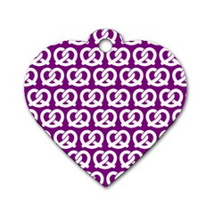 Purple Pretzel Illustrations Pattern Dog Tag Heart (two Sides) by creativemom