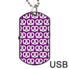 Purple Pretzel Illustrations Pattern Dog Tag Usb Flash (two Sides)