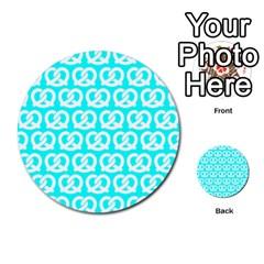 Aqua Pretzel Illustrations Pattern Multi Purpose Cards (round)  by creativemom