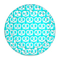 Aqua Pretzel Illustrations Pattern Round Filigree Ornament (2side) by creativemom