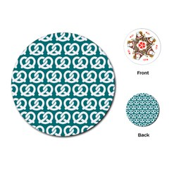 Teal Pretzel Illustrations Pattern Playing Cards (round)