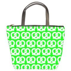 Neon Green Pretzel Illustrations Pattern Bucket Bags by creativemom